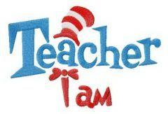 Teacher I am embroidery design