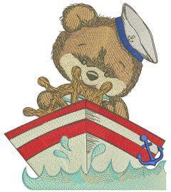 Teddy bear captain embroidery design