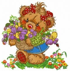 Teddy bear collecting flowers embroidery design