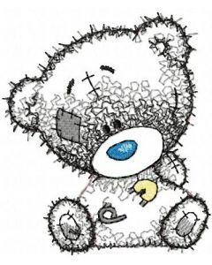Teddy bear I dressed myself applique embroidery design