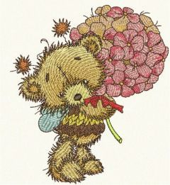 Teddy bear fairy embroidery design