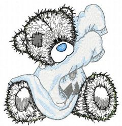 Teddy Bear getting ready for bed applique embroidery design