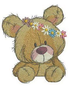 Teddy bear in flower pot 3 embroidery design