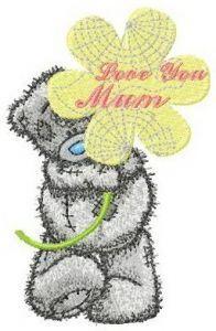Teddy bear love you mum embroidery design