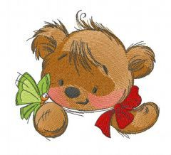 Teddy bear playing with butterfly 4 embroidery design