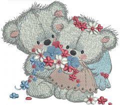 Teddy Bears wedding day embroidery design