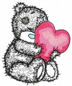 Teddy bear with a pillow in the form of heart applique machine embroidery design