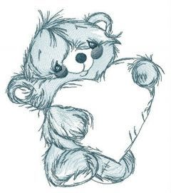 Teddy bear with huge Valentine card embroidery design
