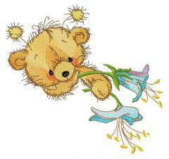 Teddy bear with bluebell embroidery design