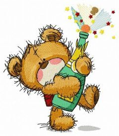 Teddy bear with champagne embroidery design
