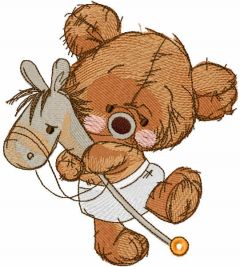 Teddy bear with horse on a stick embroidery design