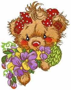 Teddy bear with pansies embroidery design