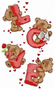 Teddy bears and love embroidery design