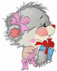 Teddy bear's birthday present embroidery design