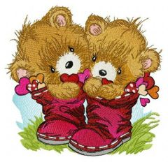 Teddy bears in boots embroidery design