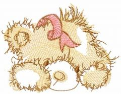 Teddy is waiting for Christmas embroidery design