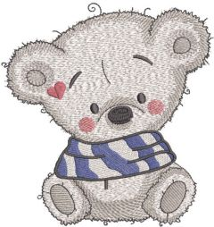 Teddy warm time embroidery design