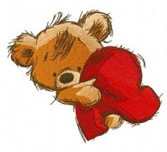 Teddy bear with heart pillow 3 embroidery design