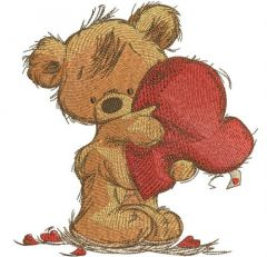 Teddy bear with heart pillow embroidery design