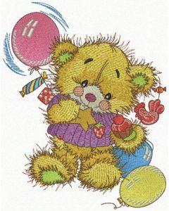 Teddy's birthday embroidery design