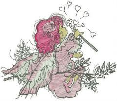 Tender fairy embroidery design
