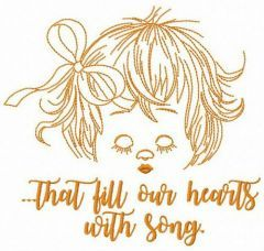 That fill our hearts with song embroidery design