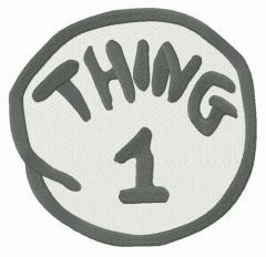 Thing 1 round badge embroidery design