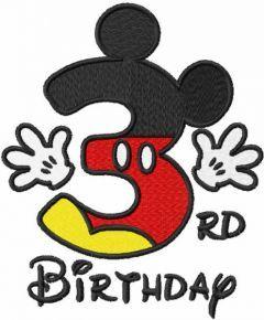 Third birthday Mickey embroidery design