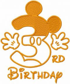 Third birthday mickey one colored embroidery design