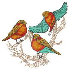 Three bullfinches on tree embroidery design