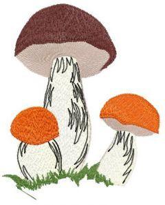 Three mushrooms embroidery design