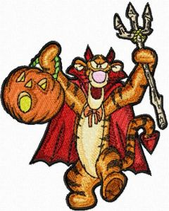 Tigger celebrates Halloween embroidery design