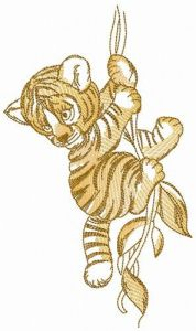 Tiger climbing up embroidery design