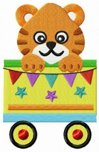 Tiger in cart embroidery design