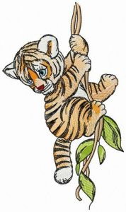 Tiger on liana embroidery design