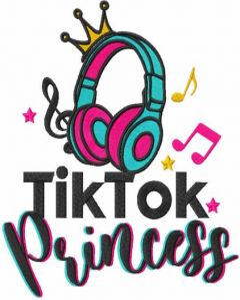 Tik tok princess embroidery design