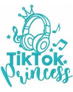 Tik tok princess one colored embroidery design