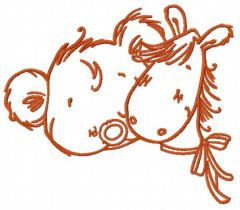 Tiny bear with pony toy 2 embroidery design