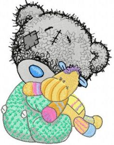 Teddy bear and favorite toy embroidery design