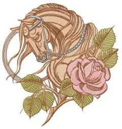 Tired horse and rose embroidery design