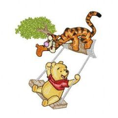 Winnie pooh and Tigger to swing embroidery design
