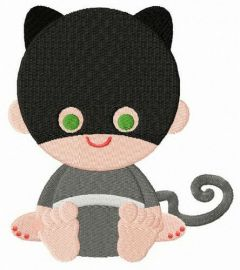 Toddler Catwoman embroidery design