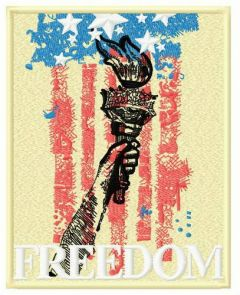 Torch of liberty embroidery design