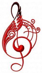 Treble clef 2 embroidery design