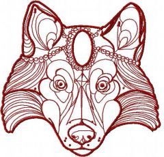 Tribal red wolf embroidery design
