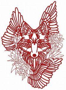 Tribal wolf machine embroidery design 4