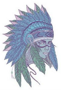 Tribal young lady embroidery design