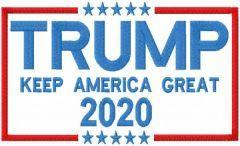 Trump keep America great 2020 embroidery design