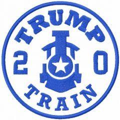 Trump train 2020 one colored embroidery design