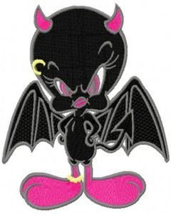 Tweety Demon embroidery design